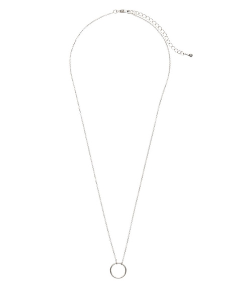 SILVER FINE SHORT CIRCLE NECKLACE