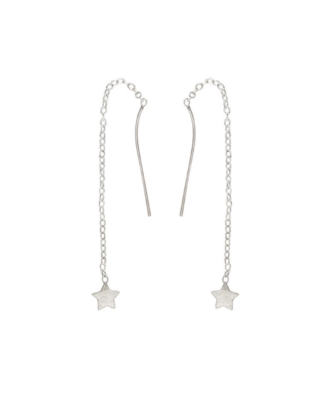 STERLING SILVER STAR CHAIN DANGLE EARRINGS