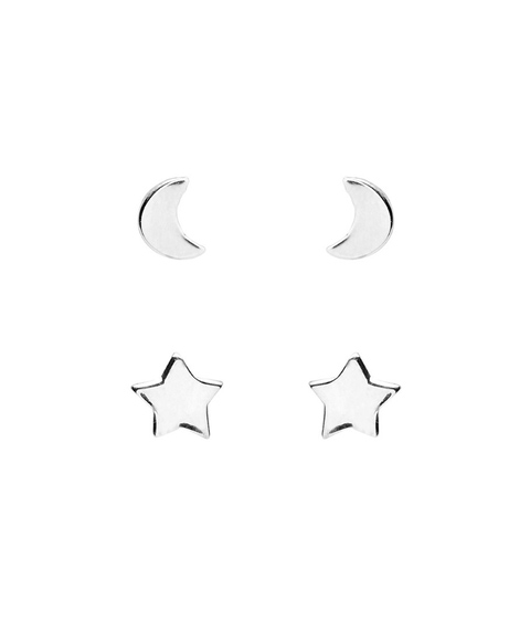 STERLING SILVER STAR & MOON STUD PACK