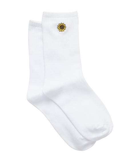 SUNFLOWER EMBROIDERY RIBBED CREW SOCK