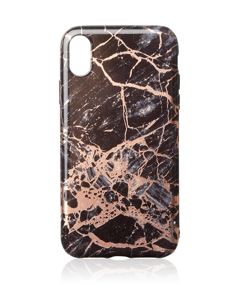 XR ROSE GOLD FOIL BLACK MARBLE PHONE CASE