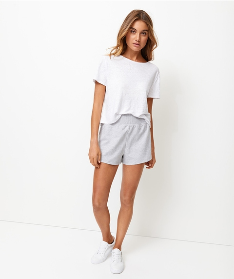 REWIND EMBROIDERED TERRY SHORT - GREY MARLE