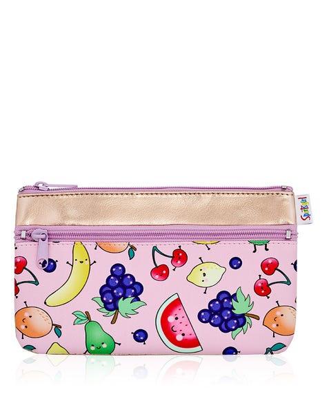 FRUIT FACES DOUBLE ZIPPER BEAUTY BAG