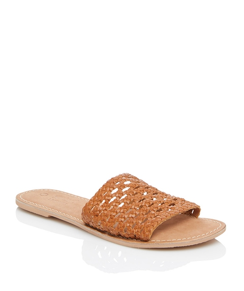 CHARLIE LEATHER WOVEN SLIDE SANDAL
