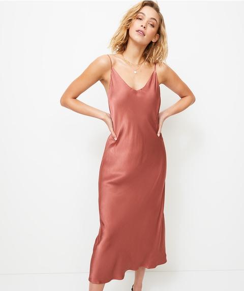 V NECK SATIN SLIP DRESS