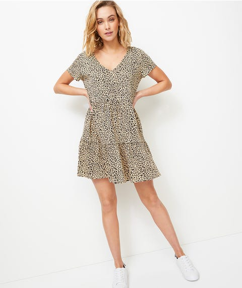 OCELOT TIERED TEE DRESS