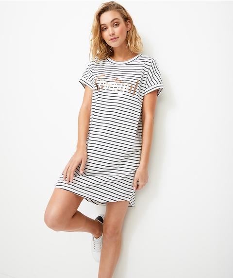 REWIND TEE DRESS - NAVY/WHITE STRIPE
