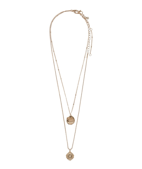 GOLD DOUBLE CHARM PENDANT NECKLACE