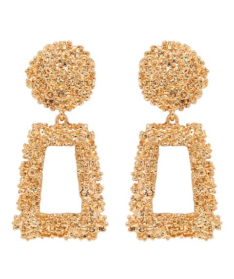 GOLD TEXTURED STATEMENT EARRINGS