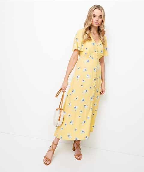 PRETTY SHORE MIDI TEA DRESS