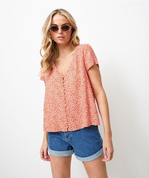 DITSY BUTTON THROUGH TEE