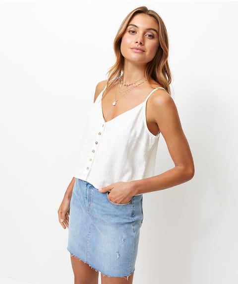 LINEN BUTTON FRONT CAMI
