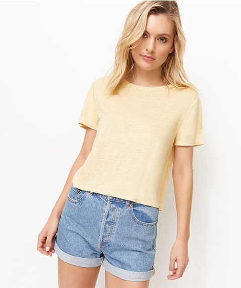 LINEN CROPPED TEE
