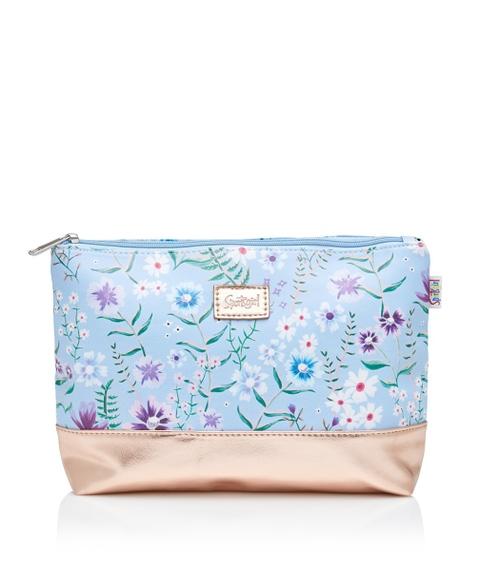 BLUE FLORAL BEAUTY BAG