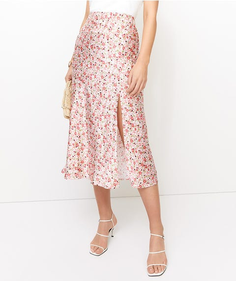 SPLIT SATIN MIDI SKIRT