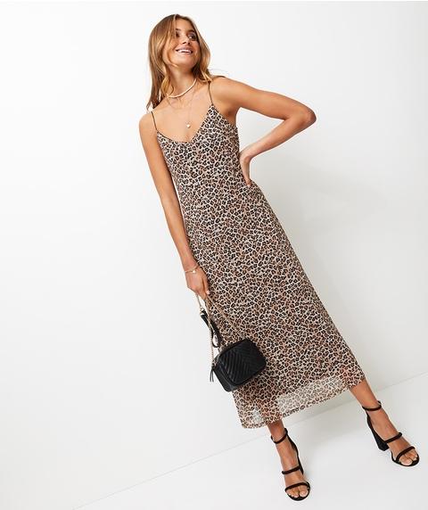 LEOPARD MESH SLIP DRESS