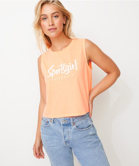 SPORTSGIRL CROPPED TANK - NEON ORANGE