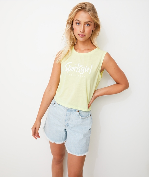 SPORTSGIRL CROPPED TANK - NEON YELLOW