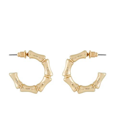GOLD BAMBOO HOOP EARRINGS