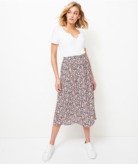 FLORAL CREPE BUTTON FRONT MIDI SKIRT