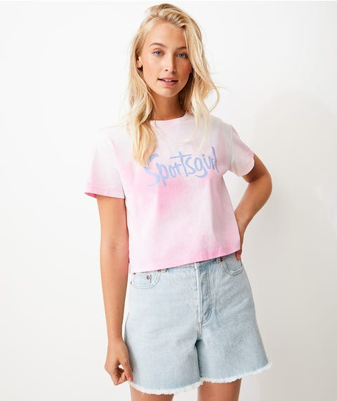 REWIND MOOD TEE - PINK TO WHITE