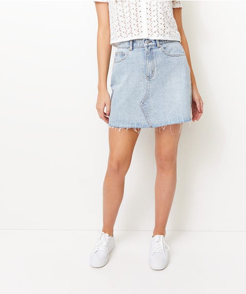 RIGID DENIM ALINE SKIRT