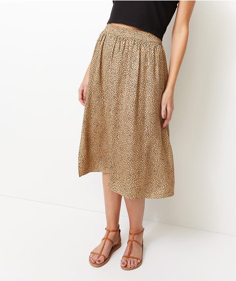 OCELOT PRINT CARLY MIDI SKIRT