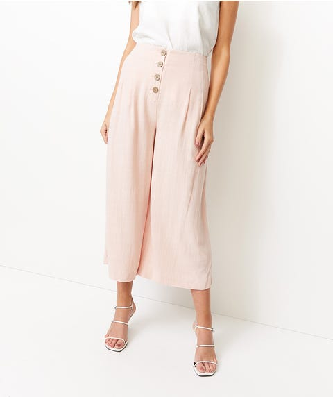 BUTTON FRONT TEXTURED PANTS