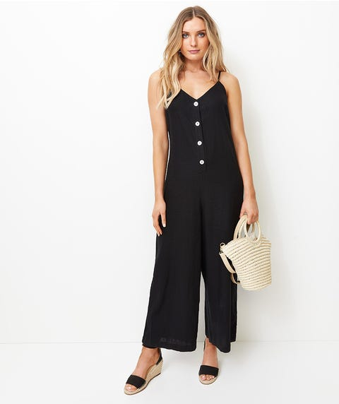 SHELL BUTTON FRONT CAMI JUMPSUIT