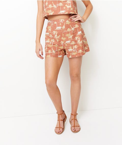 TOILE PRINTED LINEN SHORT