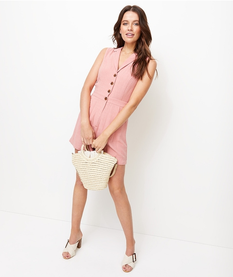 COLLARED SLEEVELESS PLAYSUIT