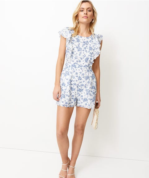 CHINOISERIE CUTWORK PRINT PLAYSUIT