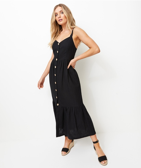 WIDE STRAP BUTTON FRONT LINEN MIDI