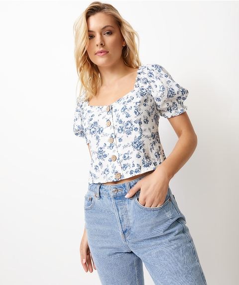 BUTTON FRONT MILKMAID TOP