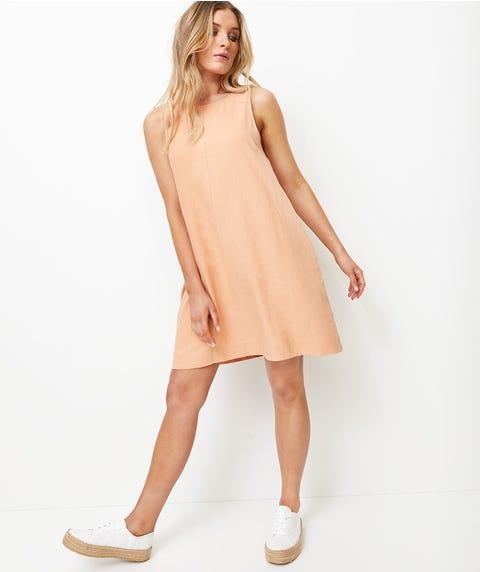 ROUND NECK LINEN SHIFT DRESS