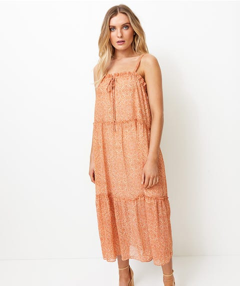 TIERED SHEER MIDI DRESS