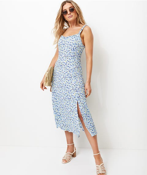 DITSY RUCHED MIDI DRESS