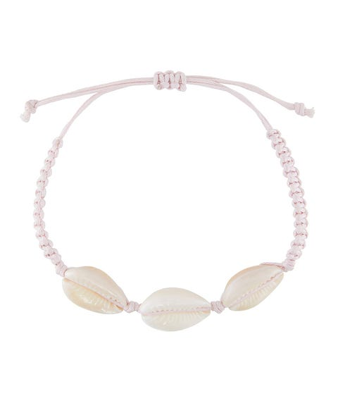 PINK THREAD COWRIE SHELL BRACELET