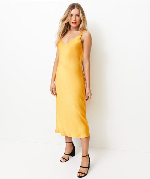 TEXTURED SATIN SLIP DRESS