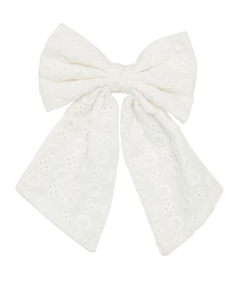 WHITE BROIDERY BOW