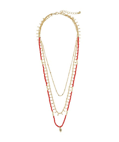 RED BEADED LAYERED NECKLACE