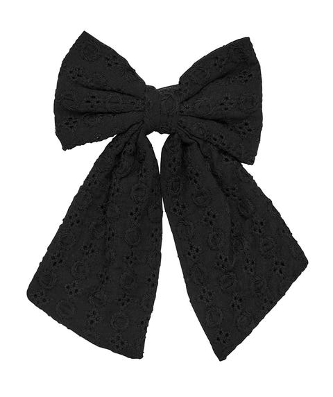BLACK BROIDERY BOW