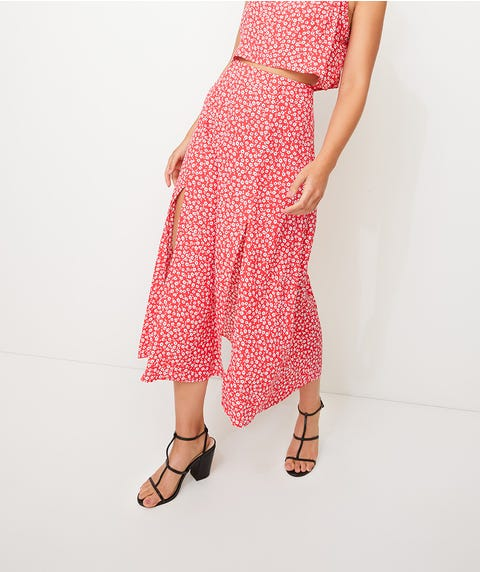DOUBLE SPLIT CREPE MIDI SKIRT