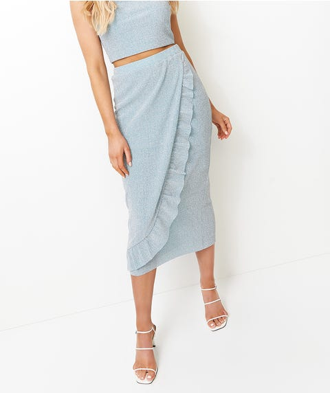 METALLIC RUFFLE MIDI SKIRT
