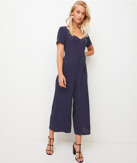 CREPE SHORT SLEEVE JUMPSUIT