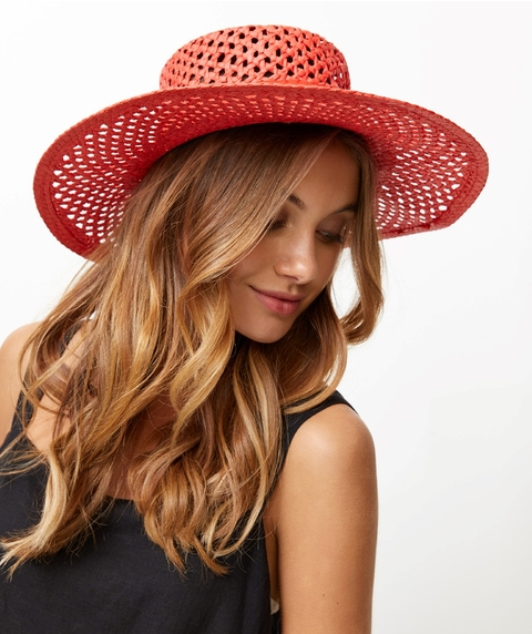 RED OPEN WEAVE HAT
