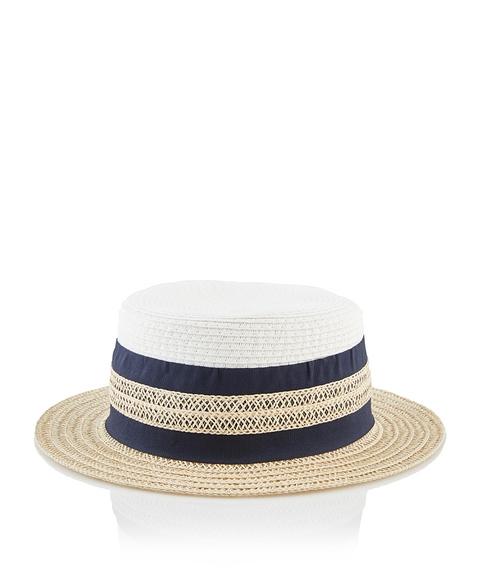 CREAM BOATER HAT