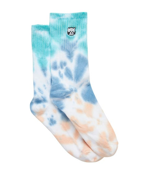 CAT EMBROIDERY TIE DYE RIBBED SOCK