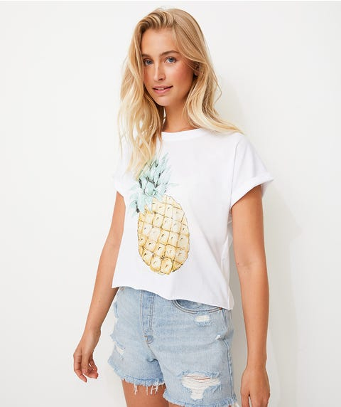 PINEAPPLE RAW EDGE TEE