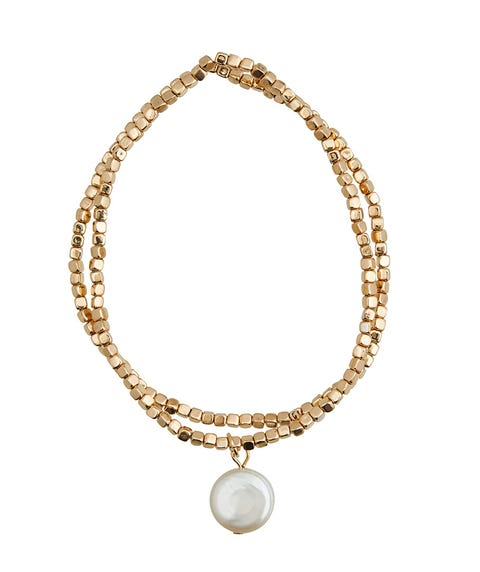TEXTURED GOLD & PEARL BRACELET